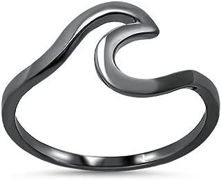 FLORISHKART 925 Sterling Silver Choose Your Color Knot Wave Ring Size 5-12 Color Gold,Rose,Black,Silver Best Gift for Love