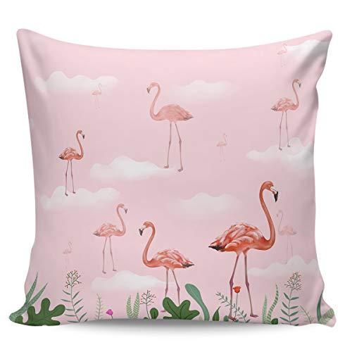 Scrummy Fundas de almohada de 50,8 x 50,8 cm, diseño de flamenco, color rosa, elegante, con diseño de flores, para decoración del hogar