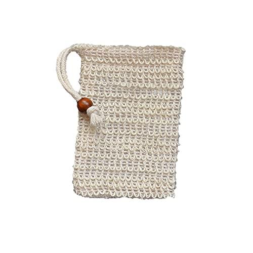 Delisouls Bolsa de jabón seco de espuma, bolsas de diseño de cordón de lino de algodón, limpieza suave duradera exfoliante para la familia
