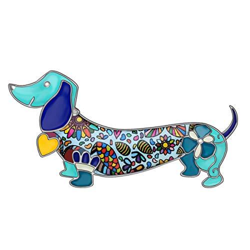 Dachshund Sauasage Dog Brooch Scarf Pin Enamel Charm Women (Blue)
