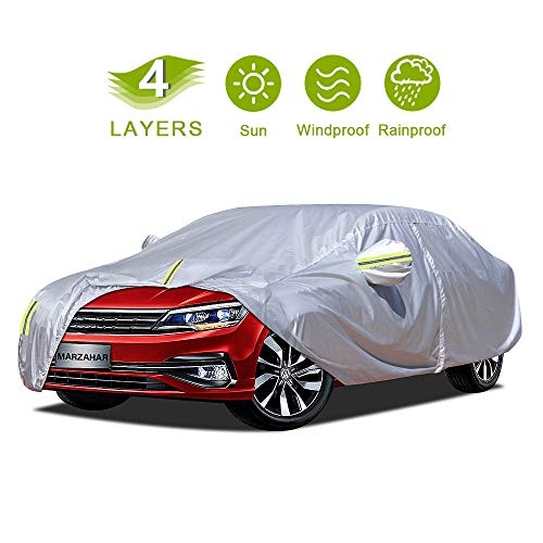 MARZAHAR 4 Layer Universal Sedan Car Cover Waterproof All Weather for Automobiles, Outdoor Rain Hail Wind Proof Full Protection Sedan Car Covers with Zipper Door