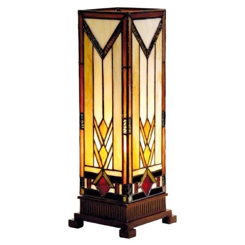 Lumilamp 5LL-9331 Säulenlampe Beistellleuchte Lampe im Tiffany-Stil 12.5 * 35 cm 1x E14 max 40w dekoratives buntglas Tiffany Stil