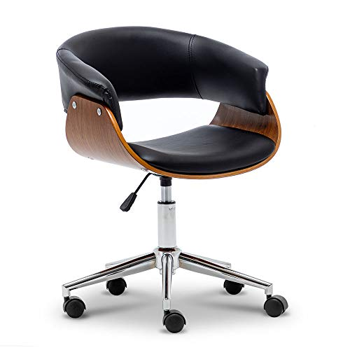 Apelila Silla de oficina de madera doblada ergonómica silla de escritorio altura ajustable estilo r