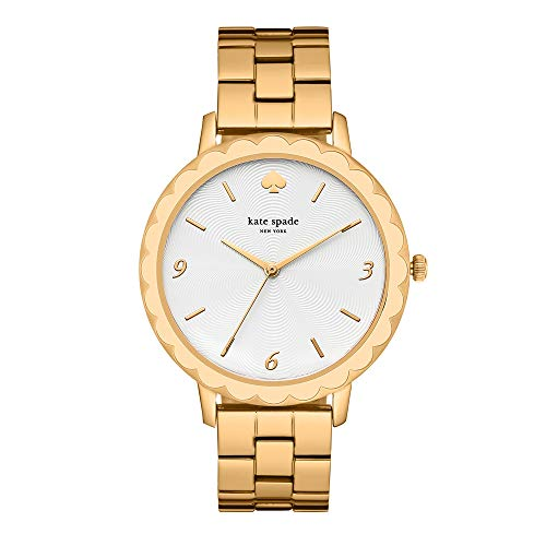 kate spade new york Women's Scallop Quartz Watch with Stainless-Steel-Plated Strap, Gold, 16 (Model: KSW1494)