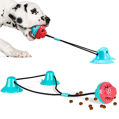 WLHOPE Double Sucker Dog Bite Sucker Toy A Dog Sucker Toy with Super Suction Power Suitable for Small and Medium Sized Dog Chew Toys (Red Blue)
