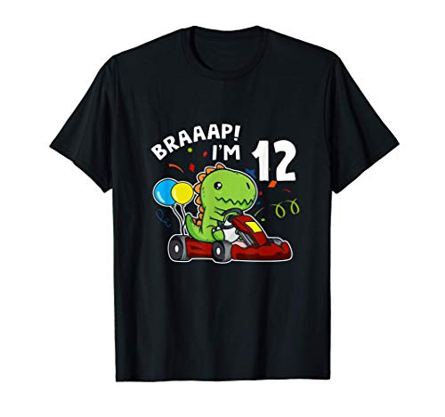 12 Cumpleaos Go Kart 12 Aos T-Rex Piloto De Carreras Camiseta