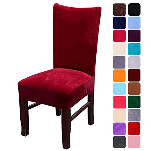 smiry Velvet Stretch Dining Room Chair Covers Soft Removable Dining Chair Slipcovers Set of 4, Wine Red