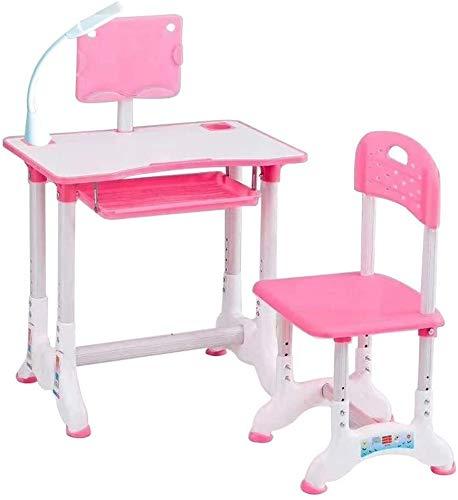Juego de Escritorio y Silla de Estudio para Niños Mesa de Trabajo de Estudio Combinado Mesa de plástico de Estudio los niños Pupitre de niño Puede Subir y Bajar (Color : B(Pink))