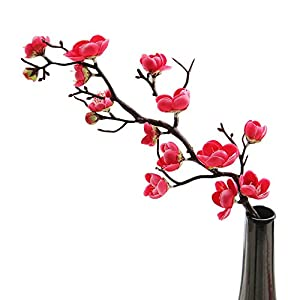 æ—  5 Pcs Artificial Plum Blossom Branches, Simulation Silk Cherry Flowers Peach Flowers, Faux Long Stem Plastic Flowers Arrangements for Home Wedding Centerpieces Decor