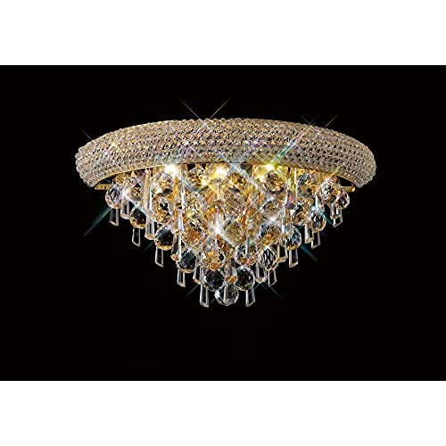 Inspired Diyas - Alexandra - Lámpara de pared mediana 3 luz oro francés, cristal