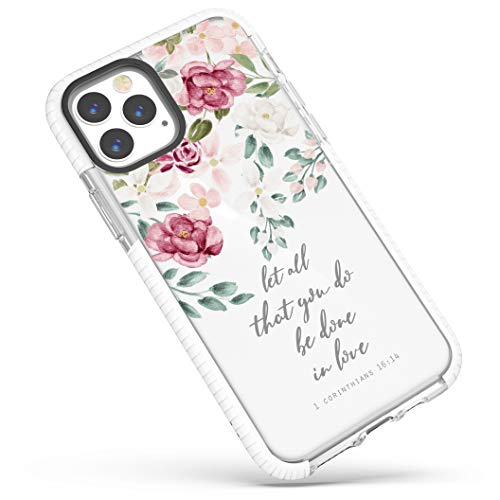 Case for iPhone 12 Pro Max,Red Pink Roses Inspirational Scripture Bible Verses Christian Quotes Corinthians 16:14 Soft Protective Clear Design Case for Girls Women Compatible for iPhone 12 Pro Max