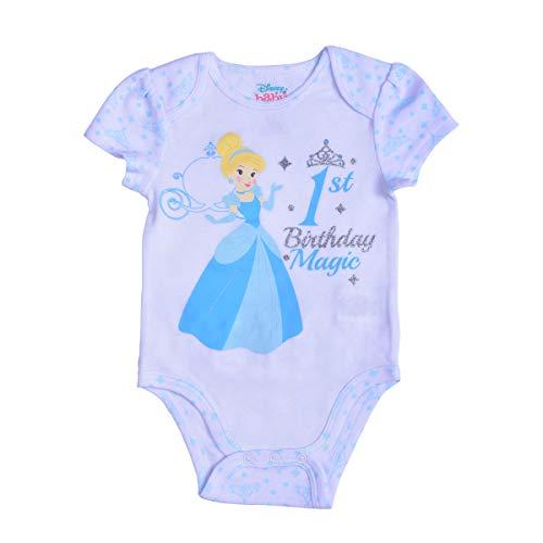 Disney Princess Baby Girl's Cinderella Short Sleeve First Birthday Bodysuit Onesie, White, Size 18M