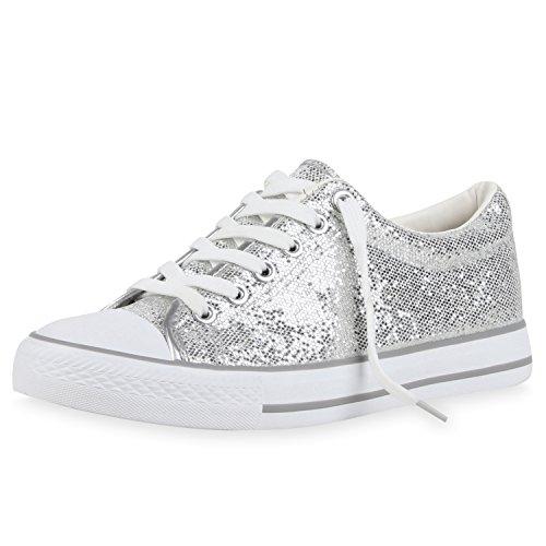 SCARPE VITA Glitzer Damen Sneakers Low Metallic Flats Turnschuhe Schnürer 160456 Silber Metallic 36