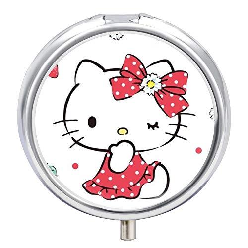 Pill Box Hello Kitty Love Cherry Medicine Vitamin Organizer Case Round for Pocket or Purse Unique Gift