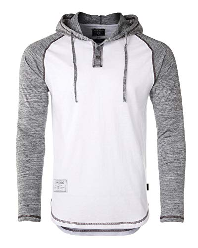 ZIMEGO Men's Casual Long Sleeve Color Block Raglan Henley Pullover Hoodie Shirt White/Heather