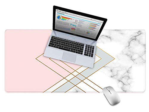 LuvCase Desk Pad, Office Desk Mat, 23.6' x 11.8' PU Leather Desk Blotter, Laptop Desk Mat, Waterproof Desk Writing Pad for Office and Home Decor, Thick Gaming Mouse Pad (Pink White Cloud Marble)