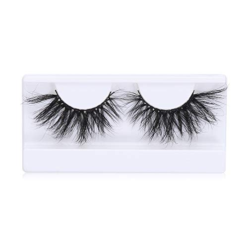 1 Pair 25MM Lashes 3D 100% Mink Hair False Eyelashes Dramtic Wispies Messy Long Fluffy Eyelashes Full Strips Eye Extension Tools Cruelty-free(LON-54)
