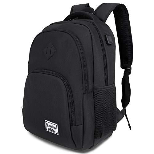 Laptop Rucksack Business Oxford Rucksack für 15.6 Zoll 20-35L mit USB-Ladeanschluss Schulrucksack für Arbeit Wandern Reisen Camping,für Herren (B6-Black)