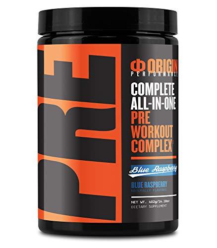 Origin Pre-Workout Complex Complete All-in-One Performance Preworkout Powder (21 Serv, Blue Raspberry)
