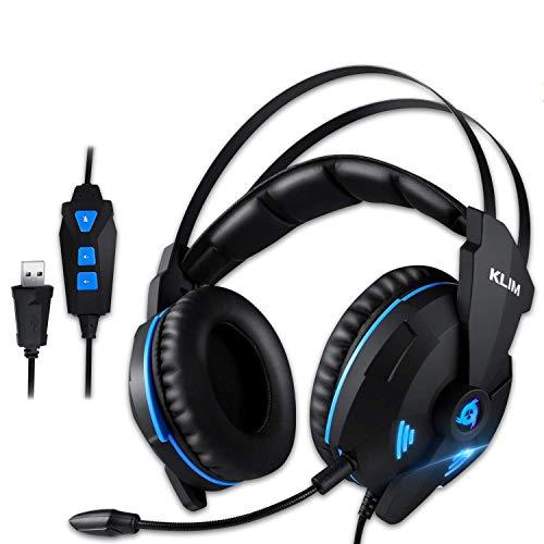 KLIM IMPACT V2 - Gaming Headset und Mikro USB - 7.1 Surround-Sound + Isolation - Hochqualitativer Klang + PS5 Headset mit Klangvolle Bässe - Für PC, PlayStation, Videospiele - Neue 2021 Version