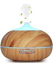 WD&CD Dyfuzor zapachowy, nawilżacz powietrza, 300 ml, lekki rysunek słojów drewna, ultradźwiękowy rozpylacz do olejków z 7 kolorami LED, bezwodny automatyczne wyłączanie, do sypialni, biura, jogi, spa
