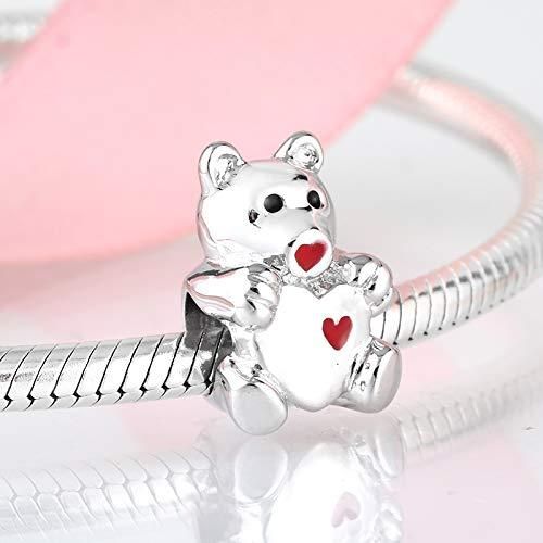 LFDHG Animal Encantador Corazón Rojo Chupete Bebé Oso 925 encantos de Plata esterlina Bead Fit Original Charm Bracelet Jewelry Making