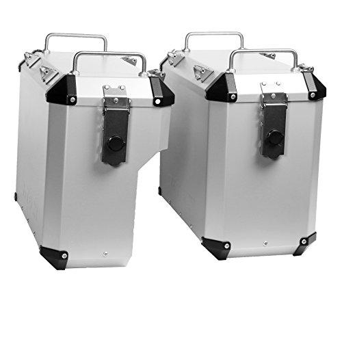 MyTech kofferset zilverkleurig 33 liter recht 39 liter en vast bevestigingsframe voor BMW R 1200 GS luchtkoeling