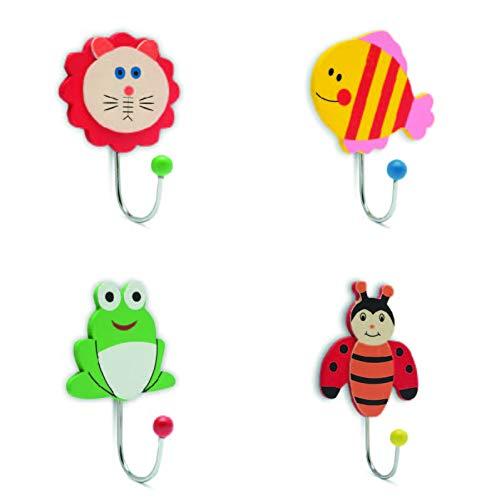 EKNA Kleiderhaken Garderobenhaken Kindergarderobe Wandhaken Aus Holz Für Kinder 4er-Set Kindergarten Garderoben Symbole (4 Stück)