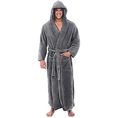 Alexander Del Rossa Mens Fleece Robe, Long Hooded Bathrobe, Large XL Steel Grey (A0125STLXL)