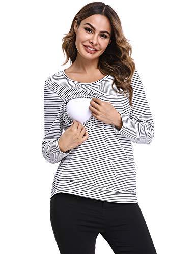 Hawiton Magliette Premaman Cotone T-Shirt L'Allattamento Donna con Manica Lunga e Doppio Strato Maglia Top Gravidanza a Righe Casual 1-Marina Militare XL