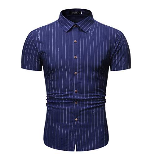 Yowablo Herren Kurzarm Shirt Freizeithemd Casual Hemden Leichte Atmungsaktives Bequem Loose Fit Gestreifter Knopf runter (XXL,1Marine)