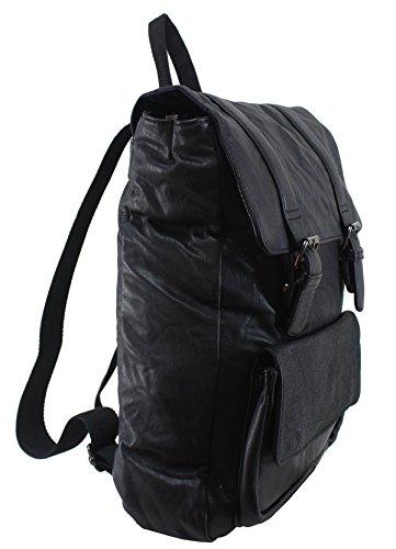 Recycled Vintage Wanderrucksack Leder Damen Rucksack Boho Retro Tasche Handmade handgefertigt, Schwarz