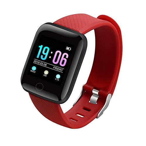 OUlike Wasserdichter Fitness-Tracker für Damen und Herren, Fitness-Tracker HR Smart Watch Activity Tracker mit Herzfrequenz- und Blutdruckmessgerät (rot, 26 x 3,5 x 1 cm)