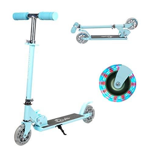Yuanj Patinete plegable Para niños de 3 a 12 años, Patinete Ajustable con 2 LED PU Ruedas, Carga Máxima 50 kg