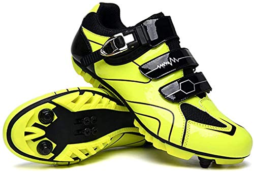 JHLA Professional Road Bike Riding Shoes Adults' Outdoor Cycling Shoes Spin Shoes with Cleat Men's Mountain Bike Shoes,Yellow-7