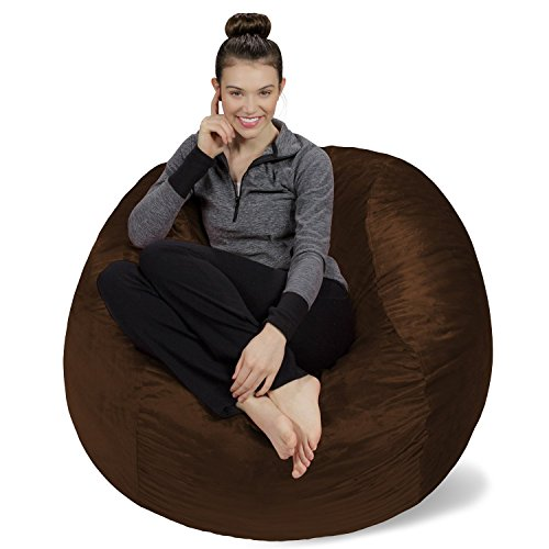 Sofa Sack - Plush, Ultra Soft Bean Bag Chair - Memory Foam Bean Bag Chair with Microsuede Cover - Stuffed Foam Filled Furniture and Accessories for Dorm Room - Chocolate 4'