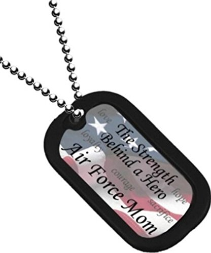 United States Air Force MOM 'The Strength Behind a Hero' Unit Division Rank Logo Symbols - Military Dog Tag Luggage Tag Key Chain Metal Chain Necklace