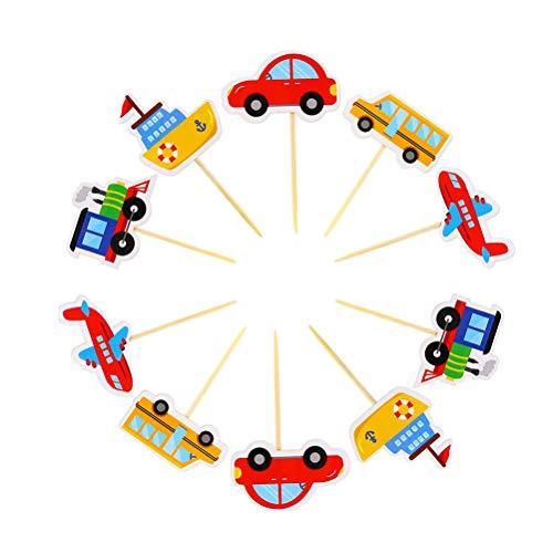 Toyvian 40 Stück Transport Cupcake Topper Auto Zug Flugzeug Schiff Kuchen nimmt für Babyparty Geburtstagsfeier Dekorationen