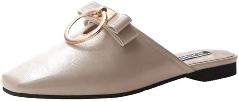 FLourishing Slip On Mule Slippers - Women Flat Backless Pointed Toe Pump Slip on Slid Slipper