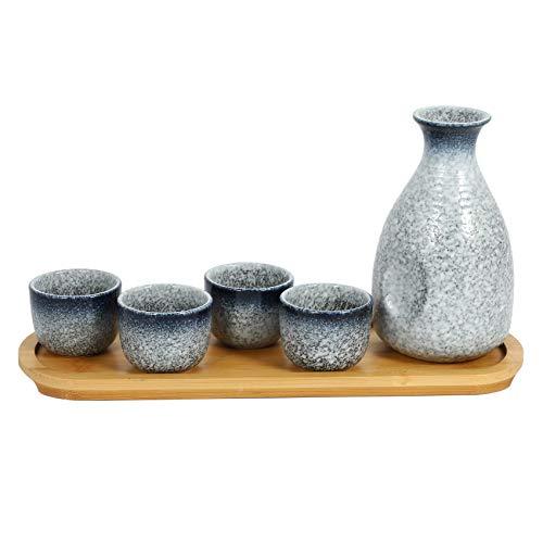 Kirmax Olla de Sake Japonesa 300ML / 50ML Conjunto de Vino de CeráMica Inicio Restaurante Olla de Sake Caliente Olla de Sake Caliente Copa de Vino PequeeA Copa de Alcohol