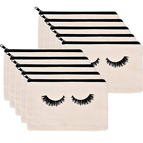 10 Pieces Eyelash Makeup Bags Cosmetic Bags Travel Make up Pouches with Zipper for Women Girls (White)