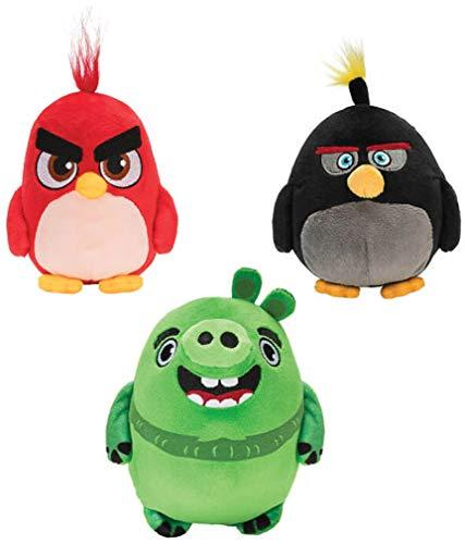 Jazwares - 3 Plüsch Angry Birds Red Bomb Leonard Original ROVIO - Mehrfarbig - 12cm
