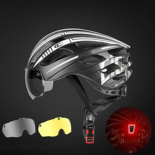 Bradoner Casco de ciclismo de montaña, casco de bicicleta de carretera, casco de miopía, equipo de bicicleta (color gris+amarillo)