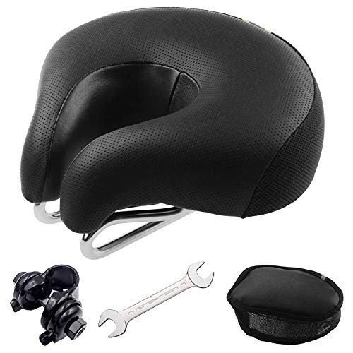Bike Seat Universal Bicycle Seat 4 Pack Armless Bike Saddle Cushion Most Comfortable Memory Foam Dual Shock Absorbing Thickened Super Soft Noseless Seat Clamp,Repair Tool,Seat Cover(Small)