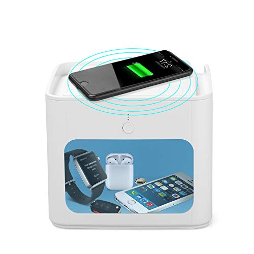 UV Sterilisator, Multifunktions Desinfektionsbox - UVC Sterilisation 99,9% /Qi-Aufladung/Halterung/3-Timing/Mini-Nachtlicht/Dual USB Anschluss