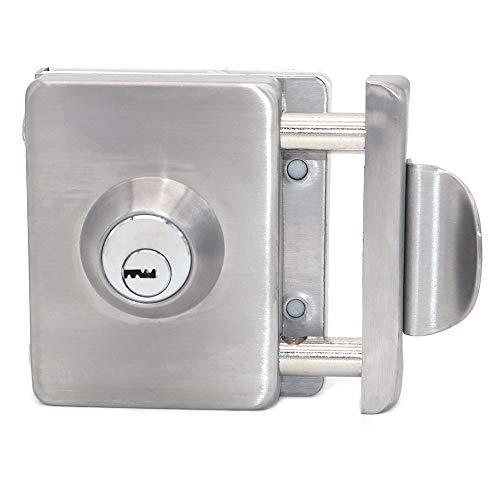NUZAMAS Cerradura de puerta de cristal doble de acero inoxidable 201, acabado cuadrado cepillado con asa, broche de puerta sin marco para cristal de 10-12 mm de grosor, para casa, oficina, muebles