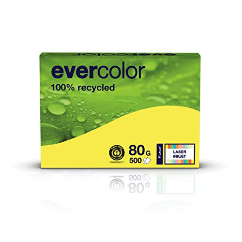 Clairfontaine farbiges Druckerpapier, Recycling-Papier Evercolor:: 80 g/m², A4, 500 Blatt, gelb