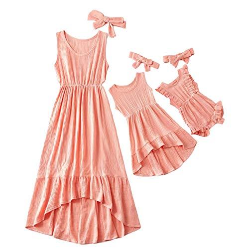 Wide.ling Mutter Tochter Kleid Kleidung Korallenfarbe Unregelmäßige Länge Tank Langes Kleid Sommerkleid Lässig Bedruckt ärmellos Tankkleid für Familie Passende Kleidung (Mutter, M)