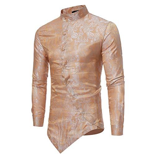 Camisas Estampadas con Cuello levantado para Hombre, Personalidad de la Moda, diseño de Dobladillo Irregular, Camisas de Manga Larga con Viento de Palacio Informal de Moda S