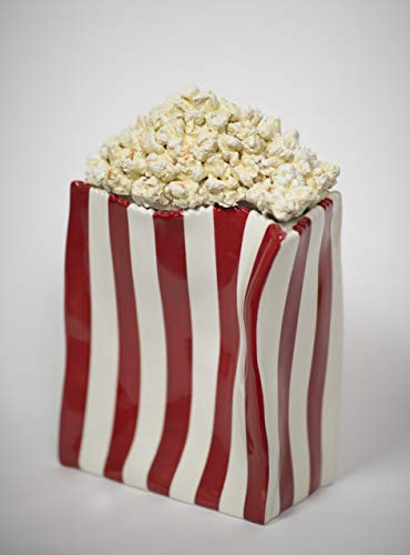 """Popcorn University Ceramic Popcorn Container with Lid - Decorative Cookie Jar for Kitchen Counter Food Storage, Table Centerpiece, Vase & More - Red Striped Home Movie Theater Room Décor, 13""""x4.5""""x8"""""""